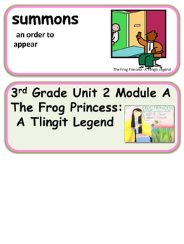 ReadyGen The Frog Princess Vocabulary 3rd grade Unit 2 Module A