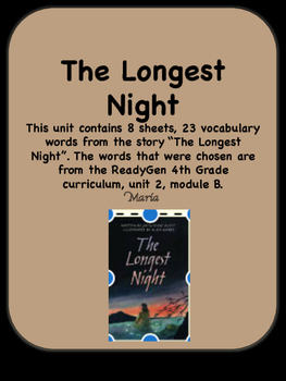 ReadyGen The Longest Night Vocabulary 4th Grade Unit 2 Module B
