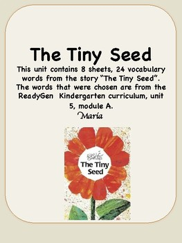 ReadyGen The Tiny Seed Vocabulary Kindergarten Unit 5 Module A