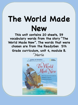 ReadyGen The World Made New Vocabulary 5th Grade Unit 4 Module B