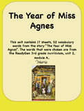 ReadyGen The Year of Miss Agnes Vocabulary 3rd grade Unit