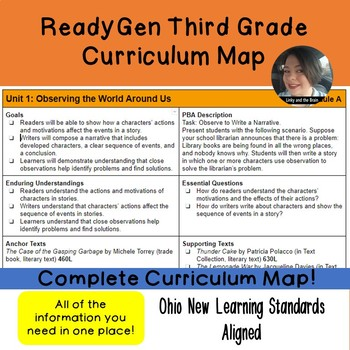 ReadyGen Third Grade Curriculum Map Ohio Standards