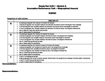 ReadyGen Unit 1 Module A Grade 4 Task & Rubric