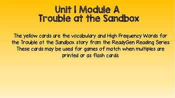 ReadyGen Unit 1 Vocabulary and HFW cards
