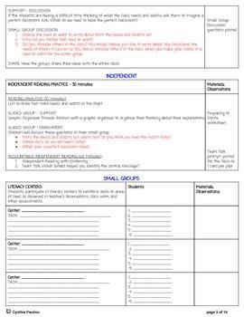 ReadyGen Unit 3 Mod B PBA Lesson Plan and Activity Sheets (1st Grade)