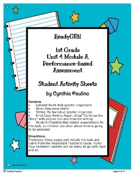 ReadyGen Unit 4 Mod A PBA Lesson Plan and Activity Sheets (1st Grade)