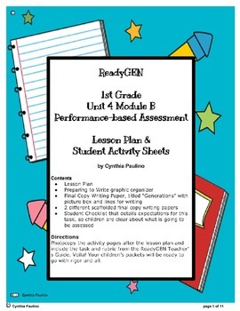 ReadyGen Unit 4 Mod B PBA Lesson Plan and Activity Sheets (1st Grade)