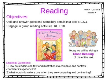 ReadyGen Unit 4 Module A - EDITABLE PowerPoint Lessons - Kindergarten