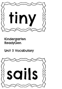 ReadyGen Unit 5 Vocabulary Kindergarten