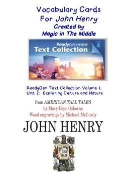 "ReadyGen ""Vocab. to Unlock Text"" Vocab. Card - UNIT 1 GRADE 4 John Henry"