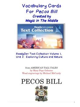 "ReadyGen ""Vocab. to Unlock Text"" Vocab Card - UNIT 2 GRADE 4 Pecos Bill"