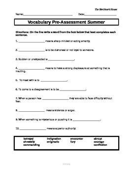 ReadyGen Vocabulary Assessments for The Birchbark House