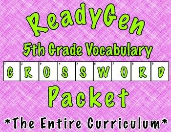 ReadyGen Vocabulary Crossword Puzzles- 5th Grade (Units 1 and 2)