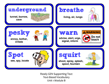 ReadyGen Vocabulary Word Wall Cards Unit 1B- 2016  Grade 1