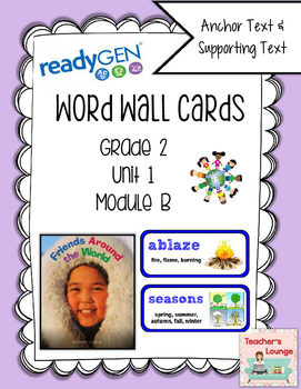 ReadyGen Vocabulary Word Wall Cards Unit 1B- 2016  Grade 2