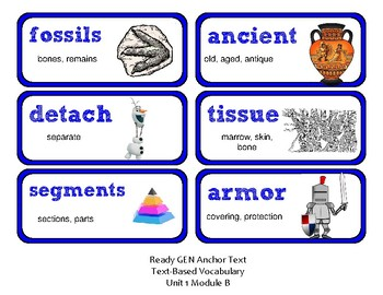 ReadyGen Vocabulary Word Wall Cards Unit 1B - 2016  Grade 4