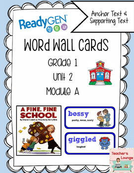 ReadyGen Vocabulary Word Wall Cards Unit 2A- 2016  Grade 1
