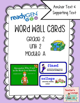 ReadyGen Vocabulary Word Wall Cards Unit 2A- 2016  Grade 2