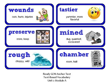ReadyGen Vocabulary Word Wall Cards Unit 2A - 2016  Grade 4