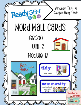ReadyGen Vocabulary Word Wall Cards Unit 2B- 2016  Grade 1