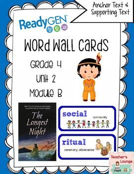 ReadyGen Vocabulary Word Wall Cards Unit 2B - 2016  Grade 4