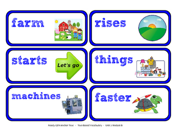 ReadyGen Vocabulary Word Wall Cards Unit 2B- 2016  Kindergarten