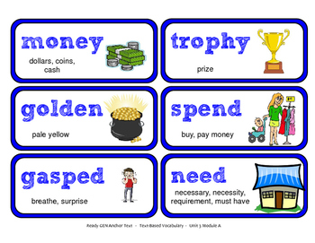 ReadyGen Vocabulary Word Wall Cards Unit 3A- 2016  Grade 1