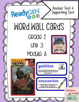 ReadyGen Vocabulary Word Wall Cards Unit 3A- 2016  Grade 2