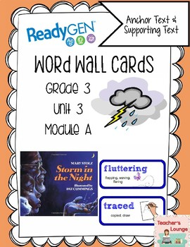 ReadyGen Vocabulary Word Wall Cards Unit 3A- 2016  Grade 3
