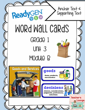ReadyGen Vocabulary Word Wall Cards Unit 3B- 2016  Grade 1