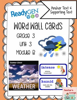 ReadyGen Vocabulary Word Wall Cards Unit 3B- 2016  Grade 3