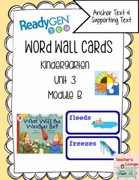 ReadyGen Vocabulary Word Wall Cards Unit 3B- 2016  Kindergarten