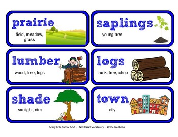 ReadyGen Vocabulary Word Wall Cards Unit 4A - 2016  Grade 1