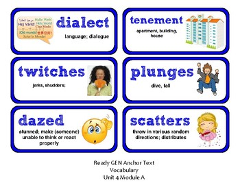 ReadyGen Vocabulary Word Wall Cards Unit 4A- 2016  Grade 2