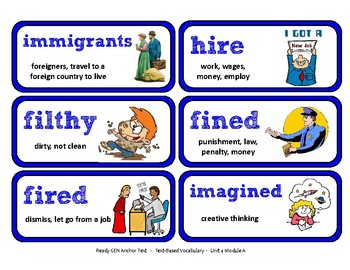 ReadyGen Vocabulary Word Wall Cards Unit 4A- 2016  Grade 3