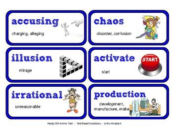 ReadyGen Vocabulary Word Wall Cards Unit 4A - 2016  Grade 4