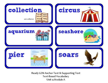 ReadyGen Vocabulary Word Wall Cards Unit 4A- 2016  Kindergarten