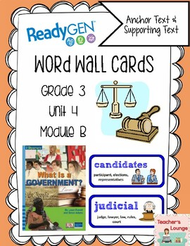 ReadyGen Vocabulary Word Wall Cards Unit 4B- 2016  Grade 3