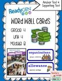 ReadyGen Vocabulary Word Wall Cards Unit 4B - 2016  Grade 4