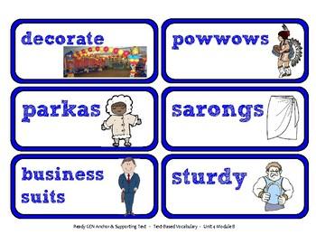 ReadyGen Vocabulary Word Wall Cards Unit 4B - 2016  Kindergarten