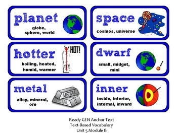 ReadyGen Vocabulary Word Wall Cards Unit 5B - 2016  Grade 1