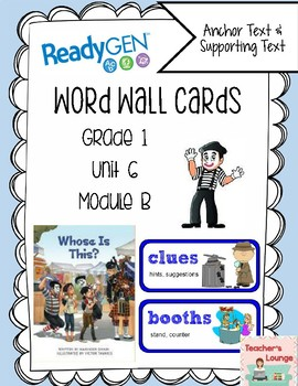 ReadyGen Vocabulary Word Wall Cards Unit 6B - 2016  Grade 1