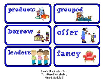 ReadyGen Vocabulary Word Wall Cards Unit 6B- 2016  Kindergarten
