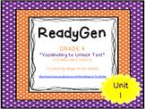 "ReadyGen ""Vocabulary to Unlock Text"" Vocabulary Cards - UNIT 1 GRADE 4"