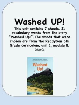 ReadyGen Washed Up! Vocabulary 5th Grade Unit 1 Module B