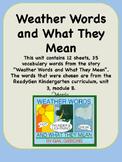 ReadyGen Weather Words and What They Mean Voc Kindergarten Unit 3 Module B