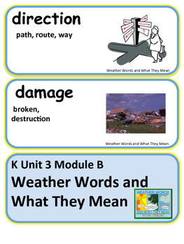 ReadyGen Weather Words and What They Mean Voc Kindergarten Unit 3 Module B