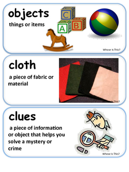 ReadyGen Whose if This? Vocabulary 1st Grade Unit 6 Module B