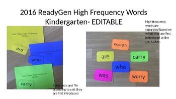 ReadyGen Word Wall Kindergarten - High Frequency Words 2016 EDITABLE