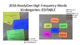 ReadyGen Word Wall Kindergarten - High Frequency Words 201